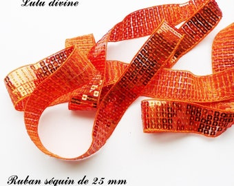 Ribbon / lace sequin glitter 25 mm, sold by 50 cm: Orange