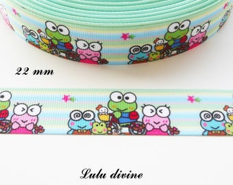 Grosgrain Ribbon background multicolored family funny frog with 22 mm sold by 50 cm