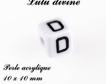 Alphabetical 10 x 10 mm white acrylic bead: letter D (set of 10)