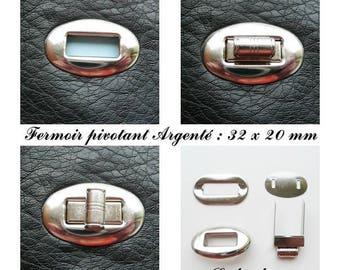 Clasp swivel oval turnstile bag / pouch / wallet Silver: 32 x 20 mm