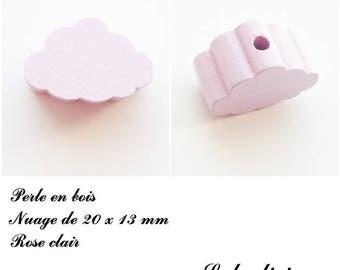 20 x 13 mm wood bead, Pearl flat cloud: light pink