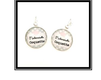 "Earrings & single ""Mademoiselle Coquette"" personalized, derision, heart, bow, gray, pink, Crown, humor"