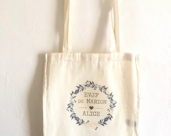 Tote Bag in cotton for bachelor party girl in the first name, date of your choice!   handmade wedding bachelorette party wedding