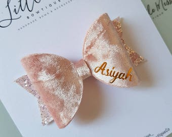 Pink Velvet Personalised Bow