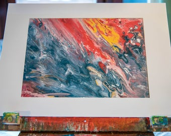 FIRE AND WATER - Quality digital print of original abstract artwork, wall art, home decor.
