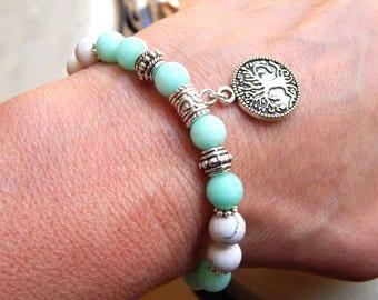 Amazonite gemstones and white howlite with tree of life bracelet