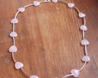 Medium silver and Rose Quartz beads necklace
