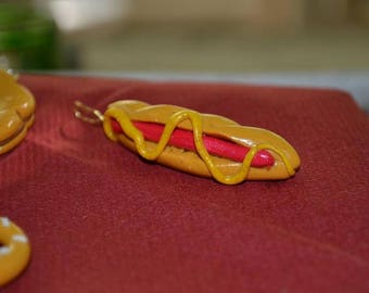 Keychain polymer clay hot dog