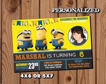 Minion Invitation,Minion Birthday Invitation,Minion,Photo Invitation,Birthday Invitation,Minion Birthday Party,Minion Birthday Invite