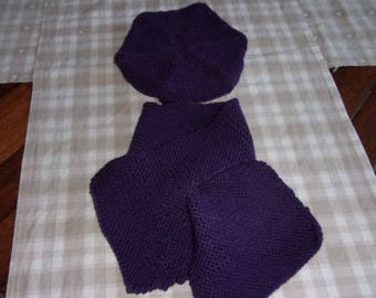 Set of beret and scarf baby 18 months/2 years
