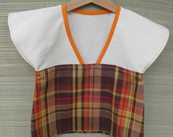 Baby 2 tunic cotton madras brown beige