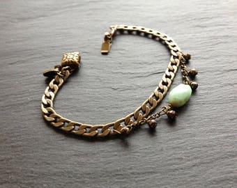 bronze 2 chains green natural stone bracelet