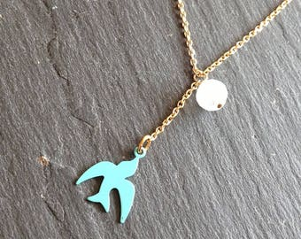 turquoise blue swallow and Moonstone necklace