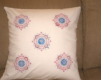 """Hand painted toss pillow cover / cushion cover / 18""""X18"""" square"""