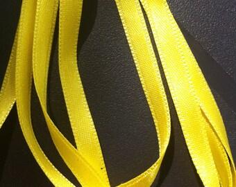 1 meter 6mm yellow satin ribbon