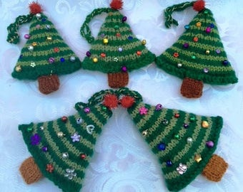 Hand Knitted Christmas Tree Decorations