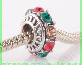 Pearl European N33 rhinestone spacer for bracelet charms