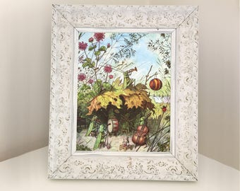 Vintage Illustration of Woodland Creatures ideal for themed nursery depicting a grasshopper band. Cabbage White butterflies on reverse