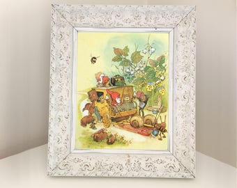 Gnome Coachman with Snails, Squirrel, Mouse, Frog. Vintage Book Page for Framing. Moving Day Illustration Gift for themed bedroom or nursery