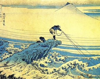 ORIGINAL TABLE SET, plastic, WASHABLE and durable - Hokusai. Fishermen on a rocky promontory - classic.