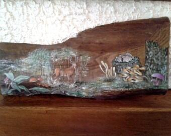 Painting on board in oak solid Woods scene