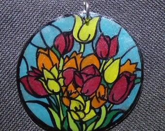 large art nouveau flowers pendant