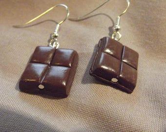 Square Stud Earrings 4 milk chocolate