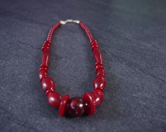 plastic beaded necklace, Red