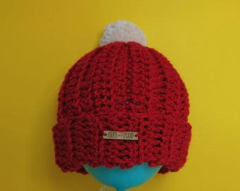 Adults | RED | Unisex Crocheted Bobble Hat | With Cream Pom Pom