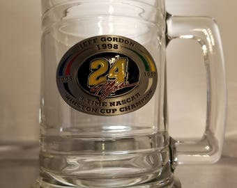 Jeff Gordon 3 Time NASCAR Winston Cup Champion Glass Cup Stein Mug.