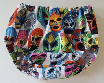 Luchador Mask Baby Bloomer, Cotton. Mexican Wrestling. Premium quality diaper cover, unisex.