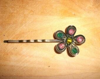 Hair clip flower & pearls