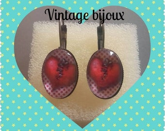 "bronze earrings ""heart rock"""