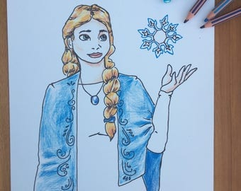 Frozen - Pencil Drawing print