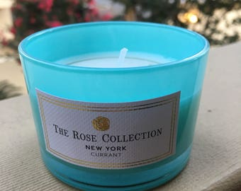 2 Blue Tiffany glass Currant candle scented candles