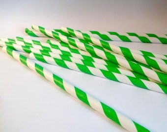 Set of 12 straws striped green and white - paper - table decoration - embellishment