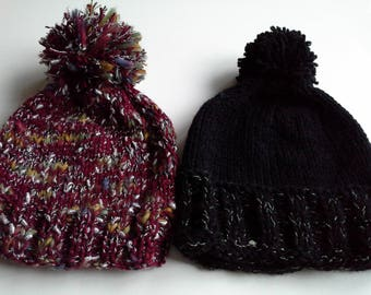 Cap sequined black on the reverse with pompom
