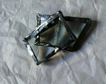 Soldered glass brooch