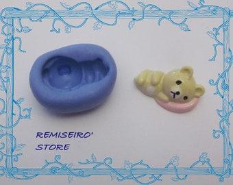 Teddy bear kawaii on his pillow silicone mold