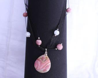 rhodochrosite energy and anti-stress gemstone necklace