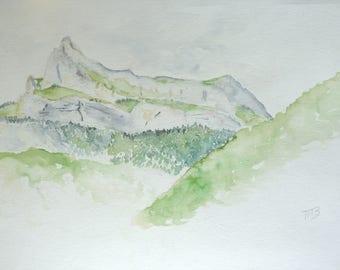 Original watercolor painting 24 x 32 cm from Lake Passy Warens needles