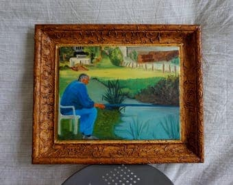 "Framed oil on wood painting ""Fisherman"""