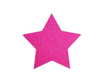 5 X 4.8 cm neon pink glittery star fusible pattern