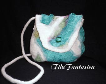 Bag, bag with silk, Nunofilztasche, shoulder bag, handbag, shoulder bag in white and Mint Green