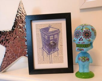 Tardis Graffiti -  Dr. Who Framed Print on Vintage Medical Dictionary Page.