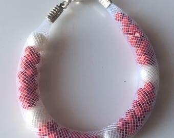 Red and white tubular Mesh Bracelet