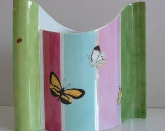 Porcelain vase with butterflies on stripes pattern