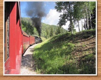 Train wall art. Steam locomotive wall art. Train in the nature. Printable poster.