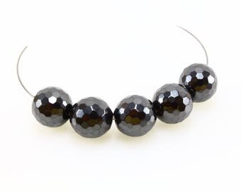 5 magnetic LBP00025 12mm faceted Hematite beads