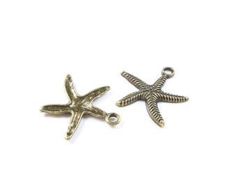 5 charms Starfish bronze 25 x 25mm